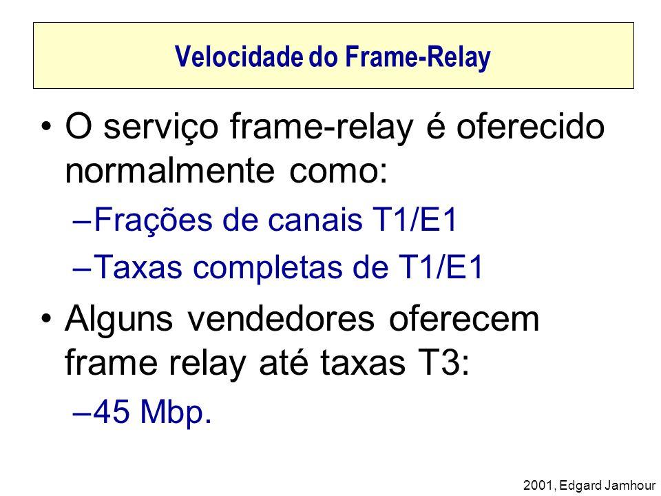 2001, Edgard Jamhour Velocidade do Frame-Relay O serviço frame-relay é oferecido normalmente como: –Frações de canais T1/E1 –Taxas completas de T1/E1