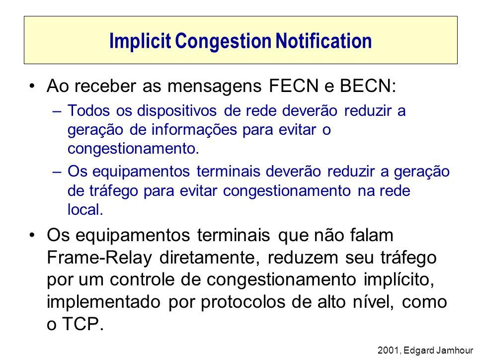 2001, Edgard Jamhour Implicit Congestion Notification Ao receber as mensagens FECN e BECN: –Todos os dispositivos de rede deverão reduzir a geração de