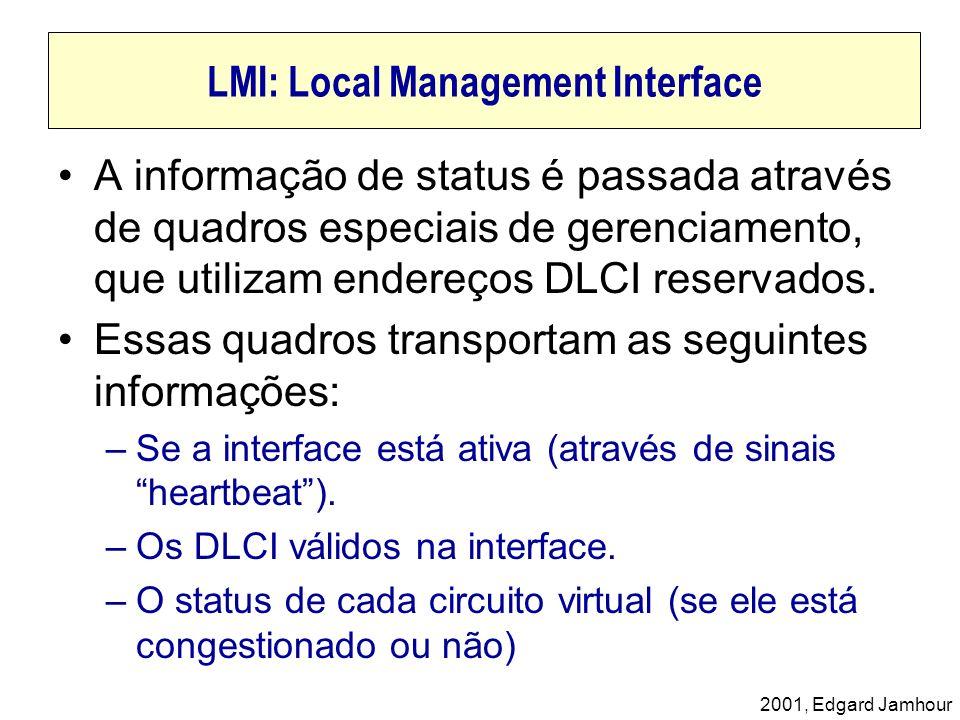 2001, Edgard Jamhour LMI: Local Management Interface A informação de status é passada através de quadros especiais de gerenciamento, que utilizam ende