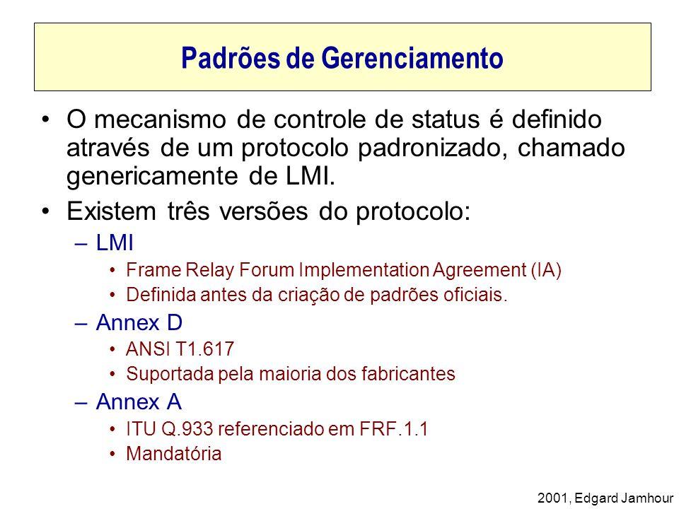 2001, Edgard Jamhour Padrões de Gerenciamento O mecanismo de controle de status é definido através de um protocolo padronizado, chamado genericamente
