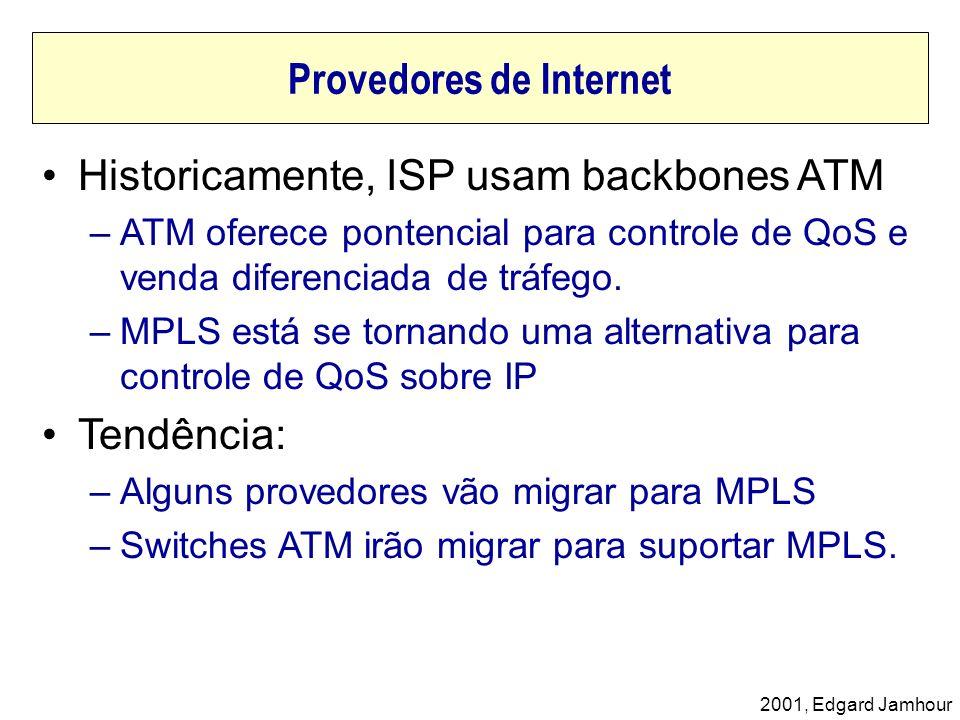 2001, Edgard Jamhour Historicamente, ISP usam backbones ATM –ATM oferece pontencial para controle de QoS e venda diferenciada de tráfego. –MPLS está s