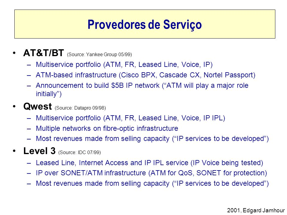 2001, Edgard Jamhour Provedores de Serviço AT&T/BT (Source: Yankee Group 05/99) –Multiservice portfolio (ATM, FR, Leased Line, Voice, IP) –ATM-based i