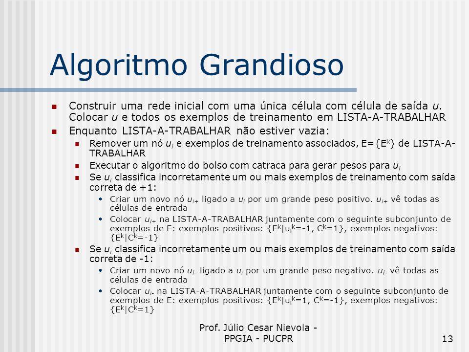 Prof. Júlio Cesar Nievola - PPGIA - PUCPR13 Algoritmo Grandioso Construir uma rede inicial com uma única célula com célula de saída u. Colocar u e tod
