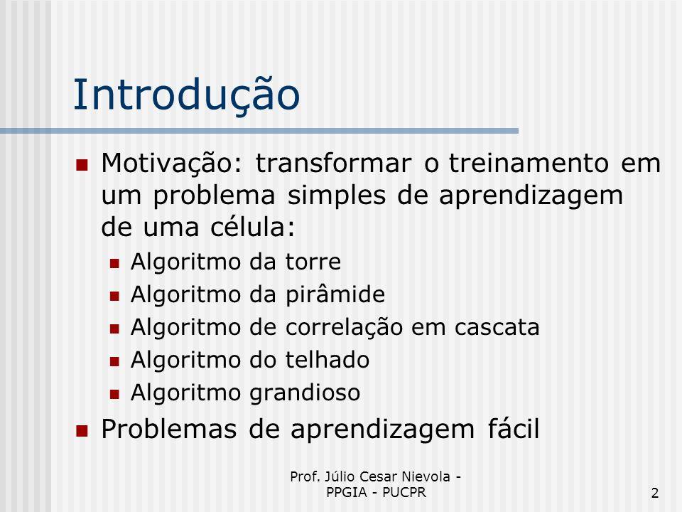 Prof. Júlio Cesar Nievola - PPGIA - PUCPR2 Introdução Motivação: transformar o treinamento em um problema simples de aprendizagem de uma célula: Algor