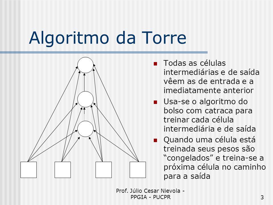 Prof. Júlio Cesar Nievola - PPGIA - PUCPR3 Algoritmo da Torre Todas as células intermediárias e de saída vêem as de entrada e a imediatamente anterior