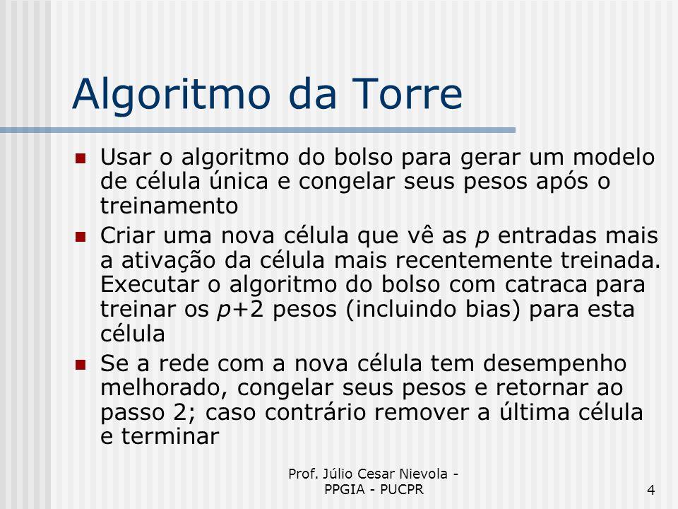 Prof. Júlio Cesar Nievola - PPGIA - PUCPR4 Algoritmo da Torre Usar o algoritmo do bolso para gerar um modelo de célula única e congelar seus pesos apó