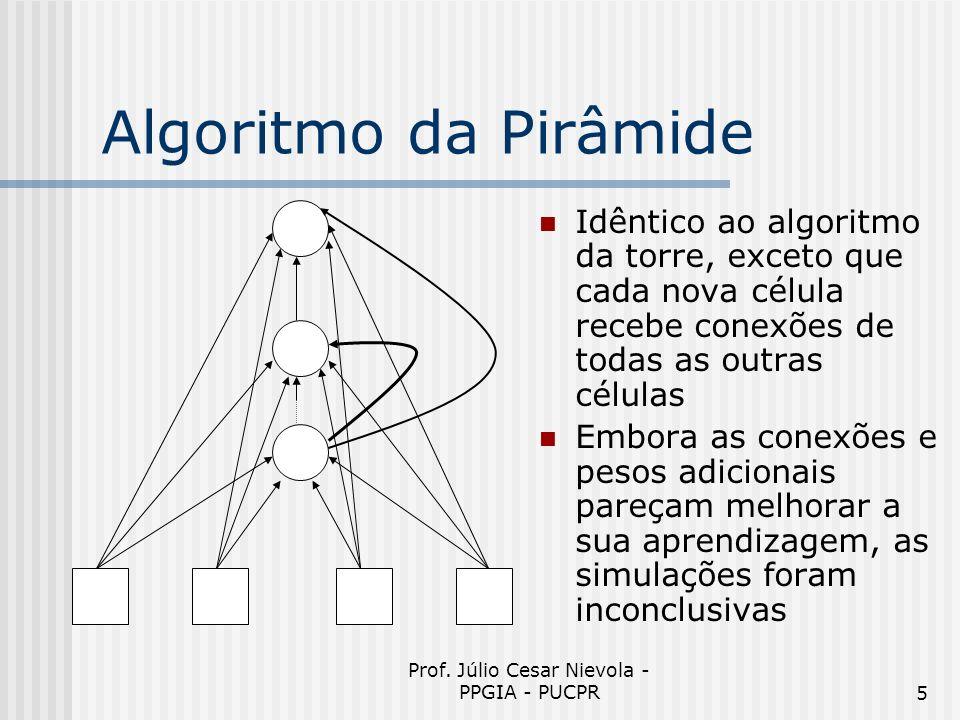 Prof. Júlio Cesar Nievola - PPGIA - PUCPR5 Algoritmo da Pirâmide Idêntico ao algoritmo da torre, exceto que cada nova célula recebe conexões de todas