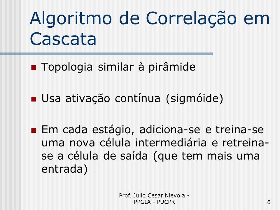 Prof. Júlio Cesar Nievola - PPGIA - PUCPR6 Algoritmo de Correlação em Cascata Topologia similar à pirâmide Usa ativação contínua (sigmóide) Em cada es