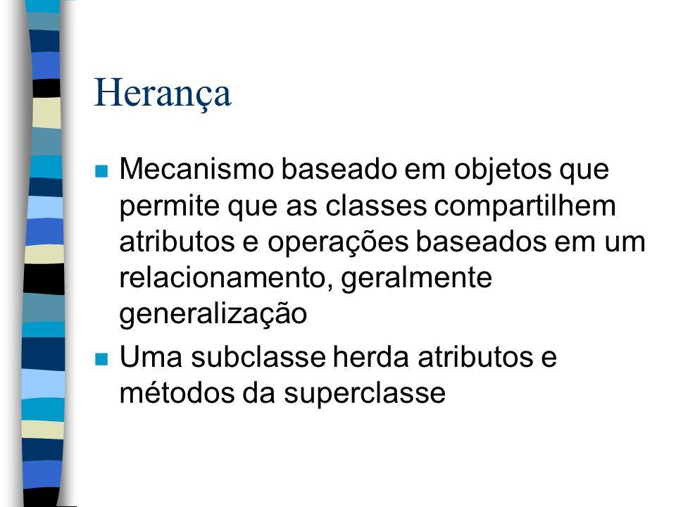 Herança n Mecanismo baseado em objetos que permite que as classes compartilhem atributos e operações baseados em um relacionamento, geralmente general
