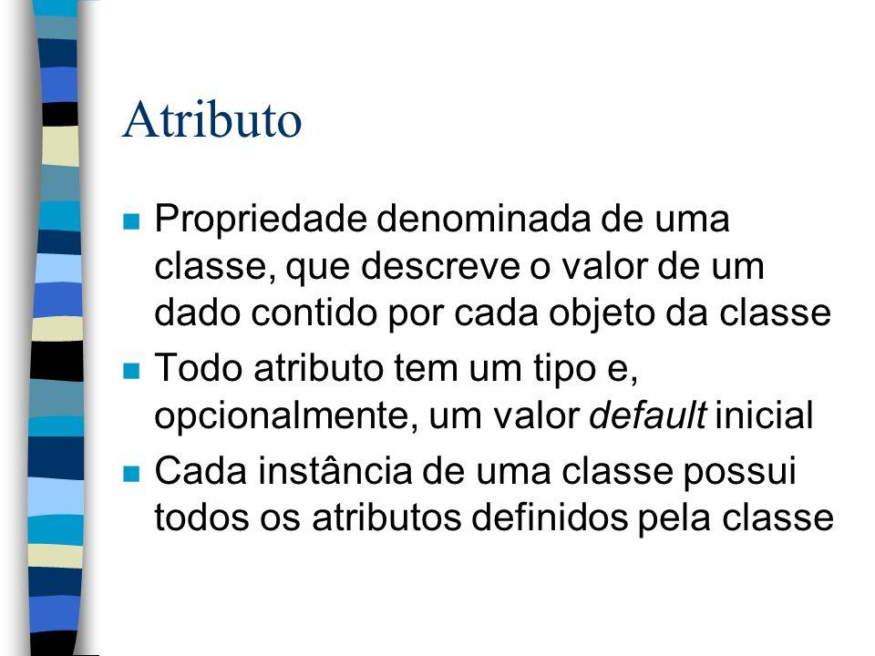 Método (ou Operação) n Função ou transformação que pode ser aplicada aos objetos de uma classe n Todo método definido para uma classe pode ser aplicado a qualquer instância daquela classe n Um método tem um nome, uma lista de argumentos, um tipo de retorno e uma implementação