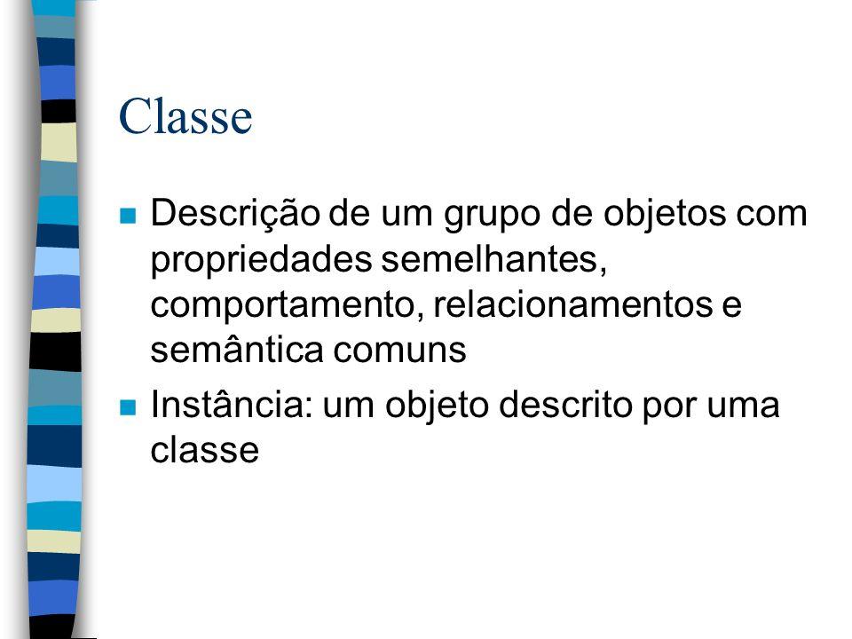 Generalização n Relacionamento entre uma classe e uma ou mais versões refinadas ou especializadas da classe n Especialização: relacionamento inverso n Superclasse: versão mais abstrata de outra classe, a subclasse n Subclasse: versão mais refinada de outra classe, a superclasse