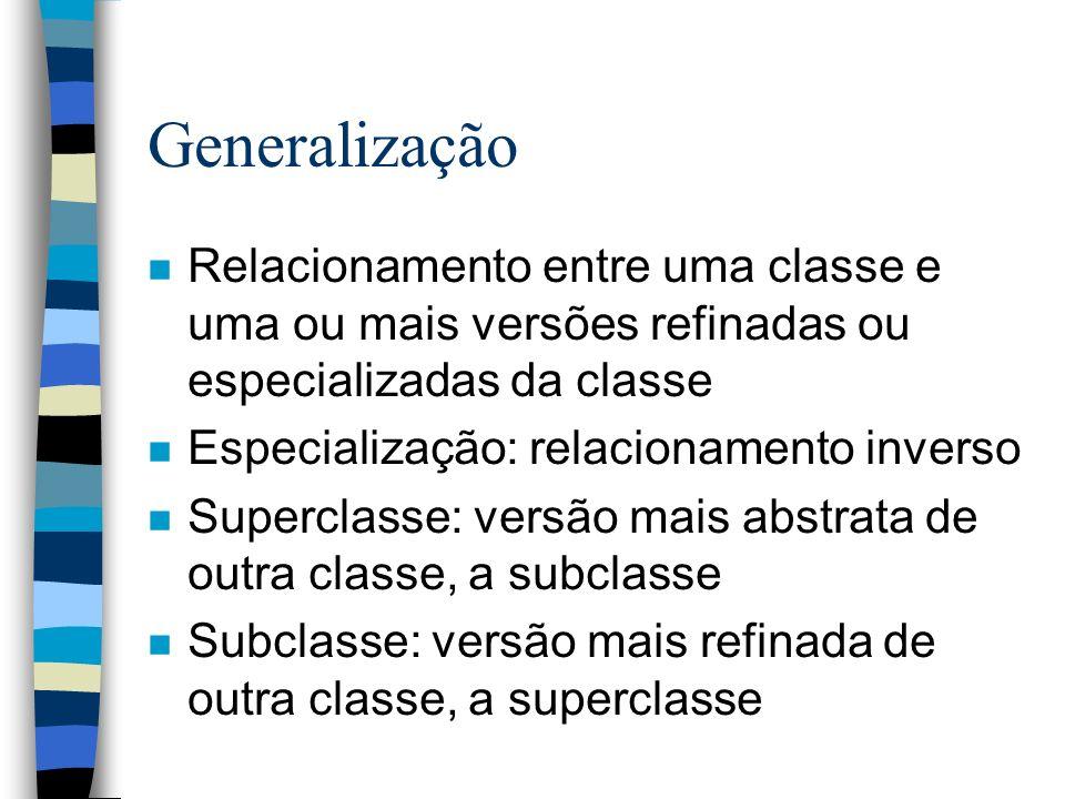 Generalização n Relacionamento entre uma classe e uma ou mais versões refinadas ou especializadas da classe n Especialização: relacionamento inverso n