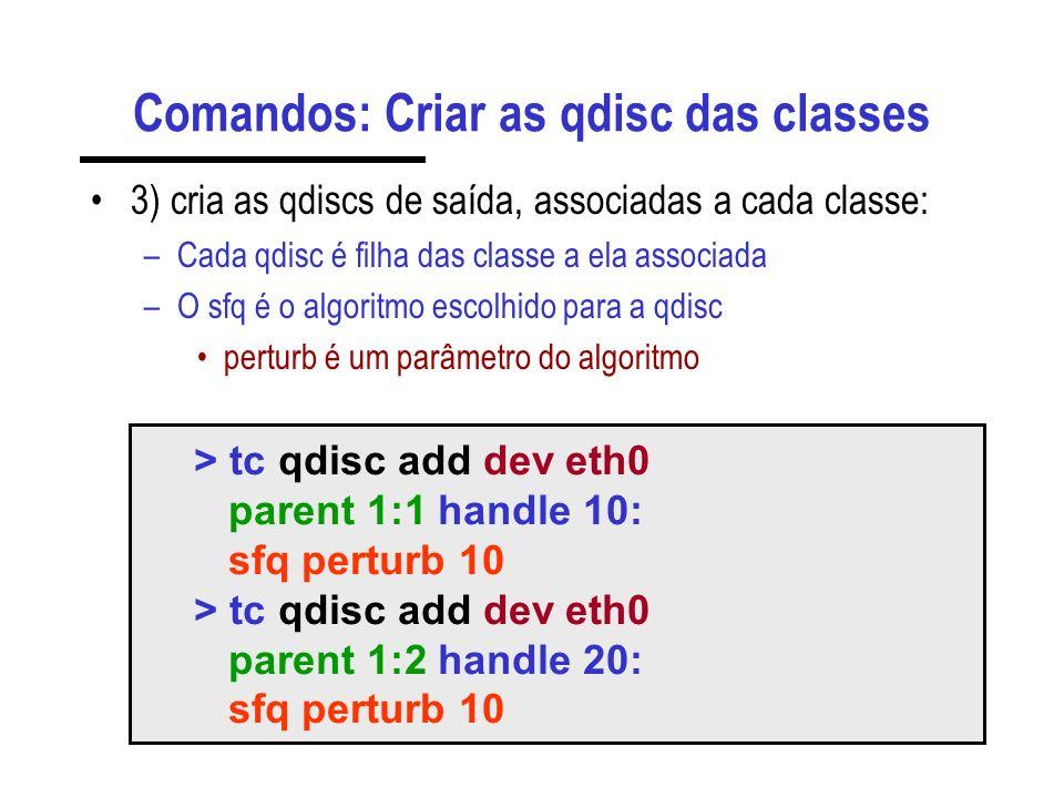 Comandos: Criar as qdisc das classes 3) cria as qdiscs de saída, associadas a cada classe: –Cada qdisc é filha das classe a ela associada –O sfq é o a