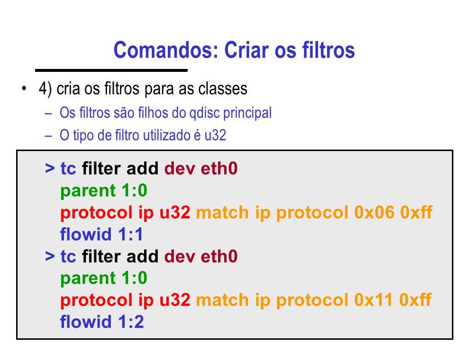 Comandos: Criar os filtros 4) cria os filtros para as classes –Os filtros são filhos do qdisc principal –O tipo de filtro utilizado é u32 > tc filter add dev eth0 parent 1:0 protocol ip u32 match ip protocol 0x06 0xff flowid 1:1 > tc filter add dev eth0 parent 1:0 protocol ip u32 match ip protocol 0x11 0xff flowid 1:2