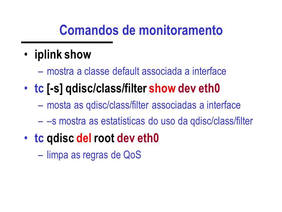 Comandos de monitoramento iplink show –mostra a classe default associada a interface tc [-s] qdisc/class/filter show dev eth0 –mosta as qdisc/class/filter associadas a interface ––s mostra as estatísticas do uso da qdisc/class/filter tc qdisc del root dev eth0 –limpa as regras de QoS