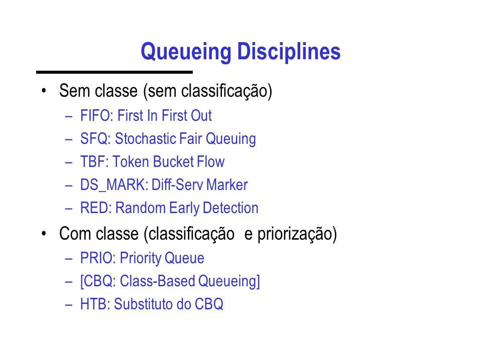 Queueing Disciplines Sem classe (sem classificação) –FIFO: First In First Out –SFQ: Stochastic Fair Queuing –TBF: Token Bucket Flow –DS_MARK: Diff-Serv Marker –RED: Random Early Detection Com classe (classificação e priorização) –PRIO: Priority Queue –[CBQ: Class-Based Queueing] –HTB: Substituto do CBQ