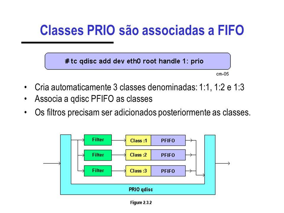 Classes PRIO são associadas a FIFO Cria automaticamente 3 classes denominadas: 1:1, 1:2 e 1:3 Associa a qdisc PFIFO as classes Os filtros precisam ser adicionados posteriormente as classes.