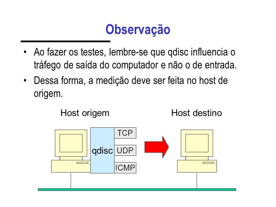 Observação Ao fazer os testes, lembre-se que qdisc influencia o tráfego de saída do computador e não o de entrada. Dessa forma, a medição deve ser fei