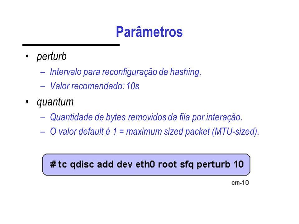 Parâmetros perturb – Intervalo para reconfiguração de hashing. – Valor recomendado: 10s quantum – Quantidade de bytes removidos da fila por interação.