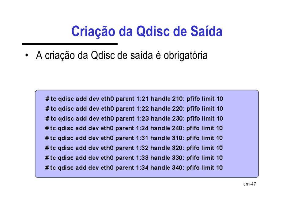 Criação da Qdisc de Saída A criação da Qdisc de saída é obrigatória