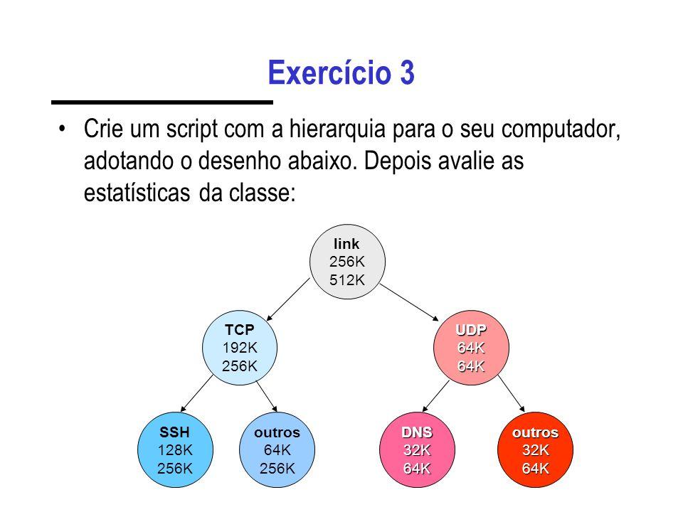 Exercício 3 Crie um script com a hierarquia para o seu computador, adotando o desenho abaixo. Depois avalie as estatísticas da classe: SSH 128K 256K o