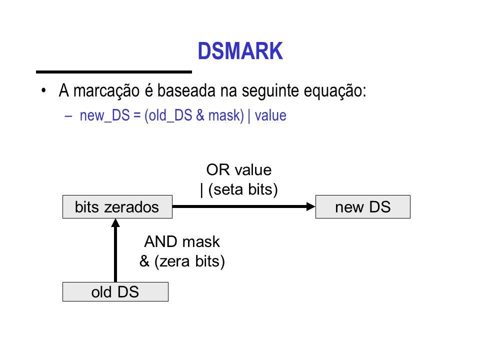 DSMARK A marcação é baseada na seguinte equação: –new_DS = (old_DS & mask) | value old DS bits zerados AND mask & (zera bits) new DS OR value | (seta