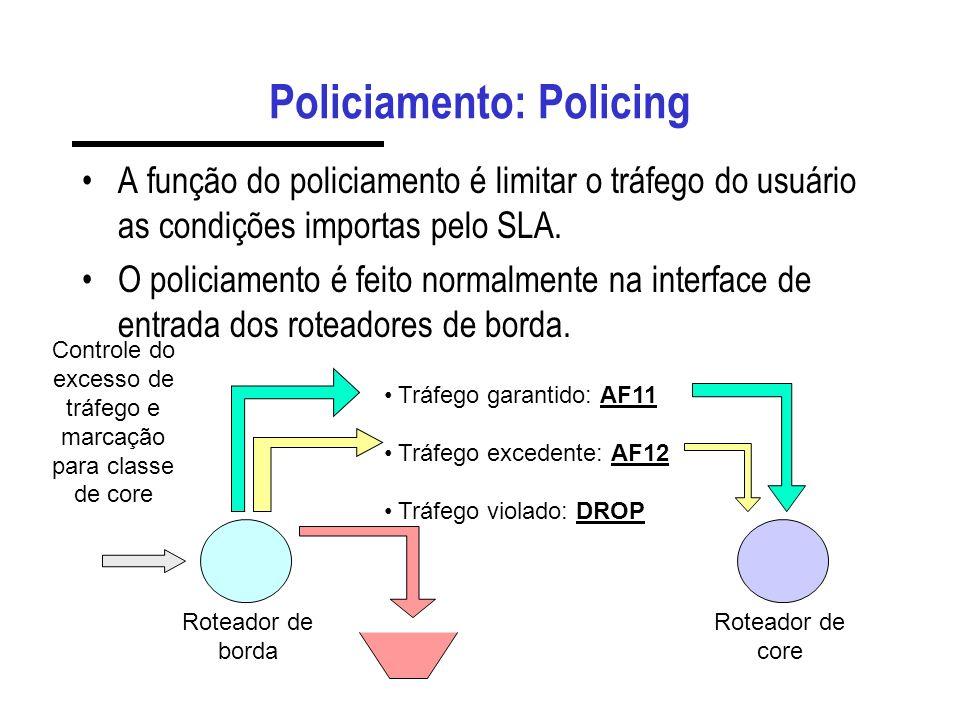 Policiamento: Policing A função do policiamento é limitar o tráfego do usuário as condições importas pelo SLA. O policiamento é feito normalmente na i