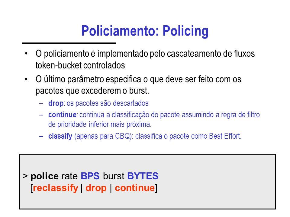Policiamento: Policing O policiamento é implementado pelo cascateamento de fluxos token-bucket controlados O último parâmetro especifica o que deve ser feito com os pacotes que excederem o burst.