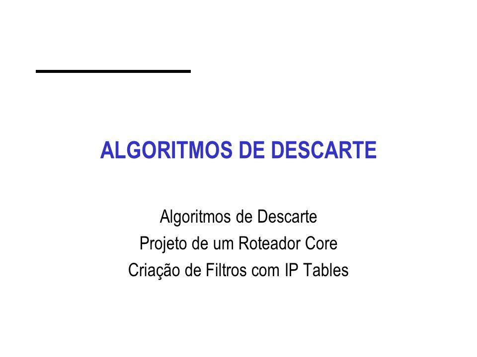 ALGORITMOS DE DESCARTE Algoritmos de Descarte Projeto de um Roteador Core Criação de Filtros com IP Tables