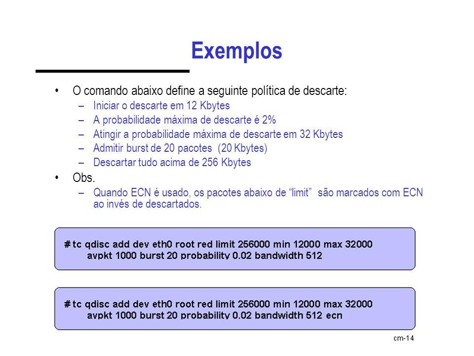 Exemplos O comando abaixo define a seguinte política de descarte: –Iniciar o descarte em 12 Kbytes –A probabilidade máxima de descarte é 2% –Atingir a