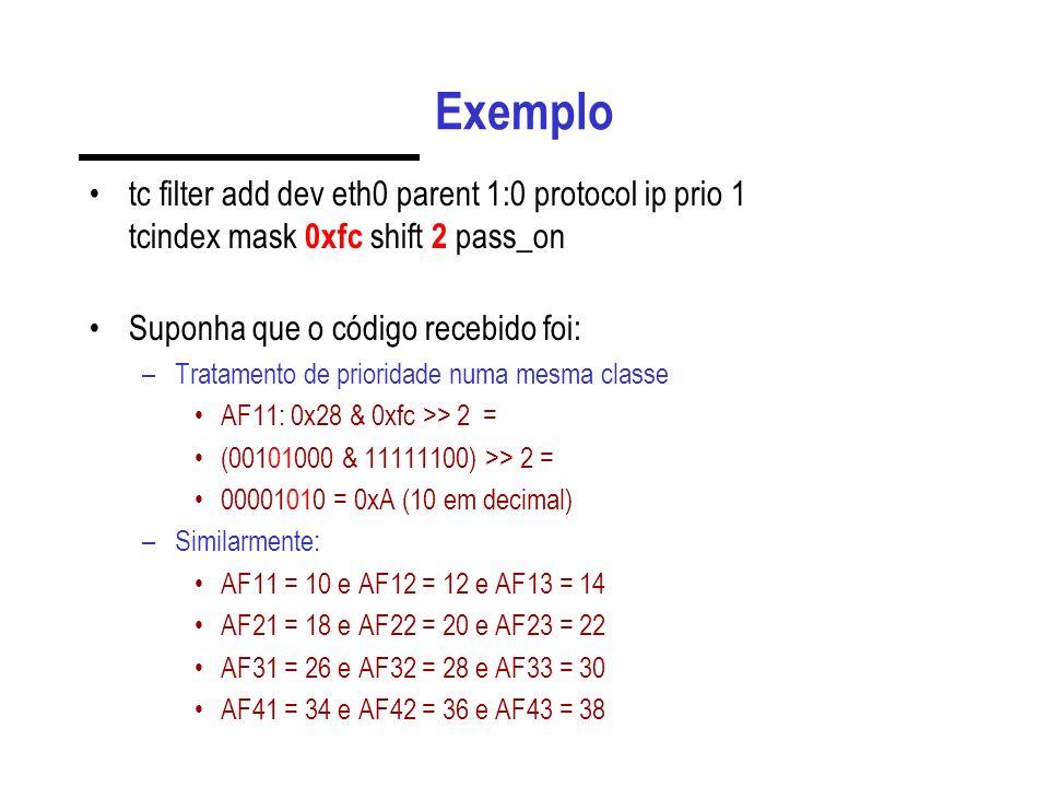 Exemplo tc filter add dev eth0 parent 1:0 protocol ip prio 1 tcindex mask 0xfc shift 2 pass_on Suponha que o código recebido foi: –Tratamento de prior
