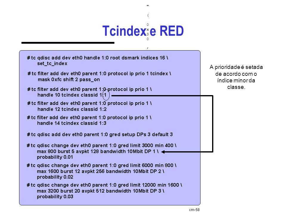 Tcindex e RED ( skb->tc_index & p.mask ) >> p.shift = ( 0x30 & 0xfc ) >> 2 =( skb->tc_index & p.mask ) >> p.shift = ( 0x30 & 0xfc ) >> 2 = ( 00110000