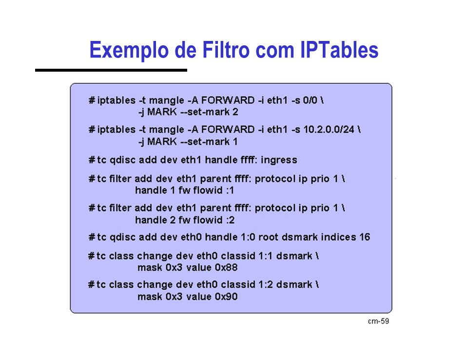 Exemplo de Filtro com IPTables