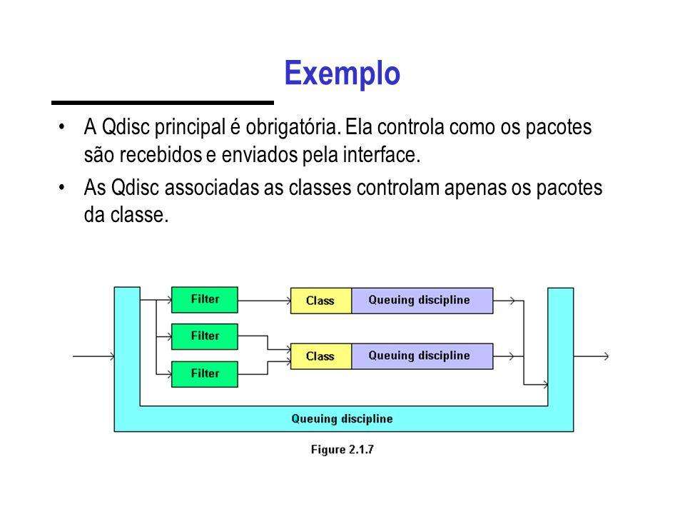 Continuação # cria a qdisc e as classes de shaping tc qdisc add dev eth0 parent 1:1 handle 2:0 htb tc class add dev eth0 classid 2:1 htb rate 1000kbit ceil 1000kbit # associa o filtro a qdisc de shaping, baseada no código dsmark tc filter add dev eth0 parent 2:0 protocol ip prio 2 handle 0x31 tcindex mask 0xff classid 2:1 # cria a qdisc de descarte tc qdisc add dev eth0 parent 2:1 handle 3: red limit 50000 min 10000 max 40000 avpkt 1000 burst 10 probability 0.1