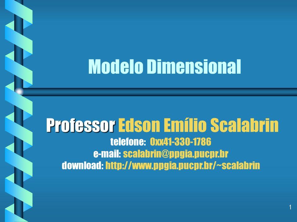 1 Modelo Dimensional Professor Professor Edson Emílio Scalabrin telefone: 0xx41-330-1786 e-mail: scalabrin@ppgia.pucpr.br download: http://www.ppgia.pucpr.br/~scalabrin