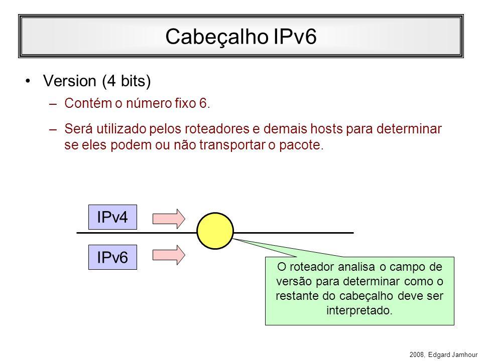 2008, Edgard Jamhour Cabeçalho IPv6 A figura abaixo mostra a porção fixa do cabeçalho IP. –O cabeçalho IPv6 tem menos campos que o IPv4 –No total, o I