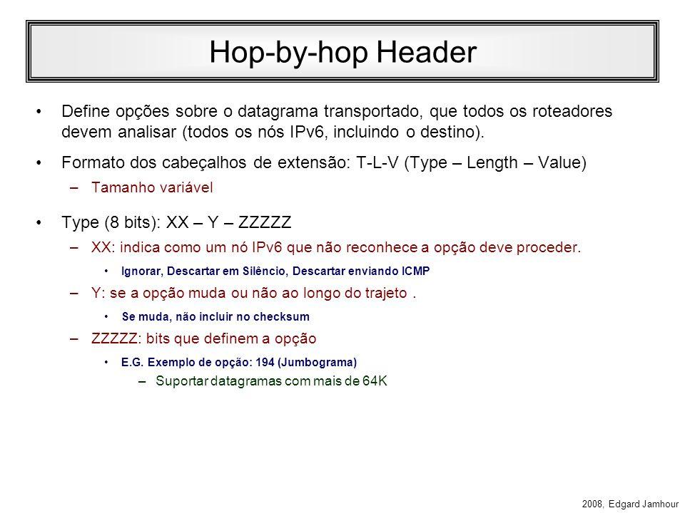 2008, Edgard Jamhour Cabeçalhos de Extensão Os datagramas IPv6 podem ter 0 ou vários cabeçalhos de extensão, conforme mostra o exemplo abaixo: cabeçal