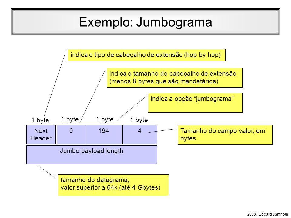 2008, Edgard Jamhour Hop-by-hop Header Define opções sobre o datagrama transportado, que todos os roteadores devem analisar (todos os nós IPv6, inclui