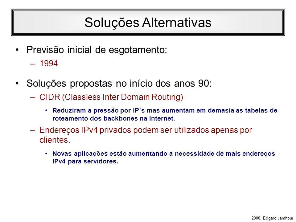 2008, Edgard Jamhour Problemas do IP Versão 4 Crescimento do IPv4 –07/2007490 milhões de hosts –01/2008542 milhões de hosts –IPv4 permite endereçar 32