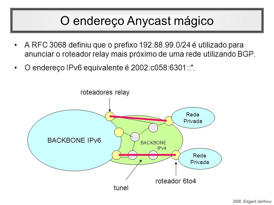2008, Edgard Jamhour Roteadores 6to4 Relay Roteadores Relay são utilizados para permitir a comunicação entre Hosts 6to4 através de backbones puramente