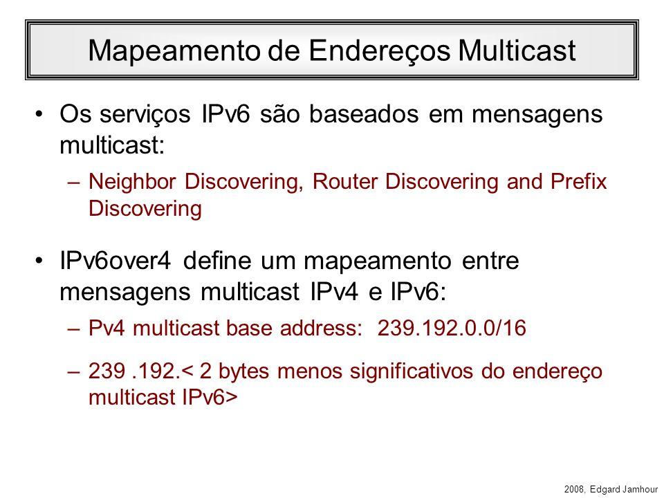 2008, Edgard Jamhour Formato dos Pacotes Pacotes IPv6 são encapsulados no interior de pacotes IPv4 utilizando o tipo de protocolo 41. Pelo menos um ro