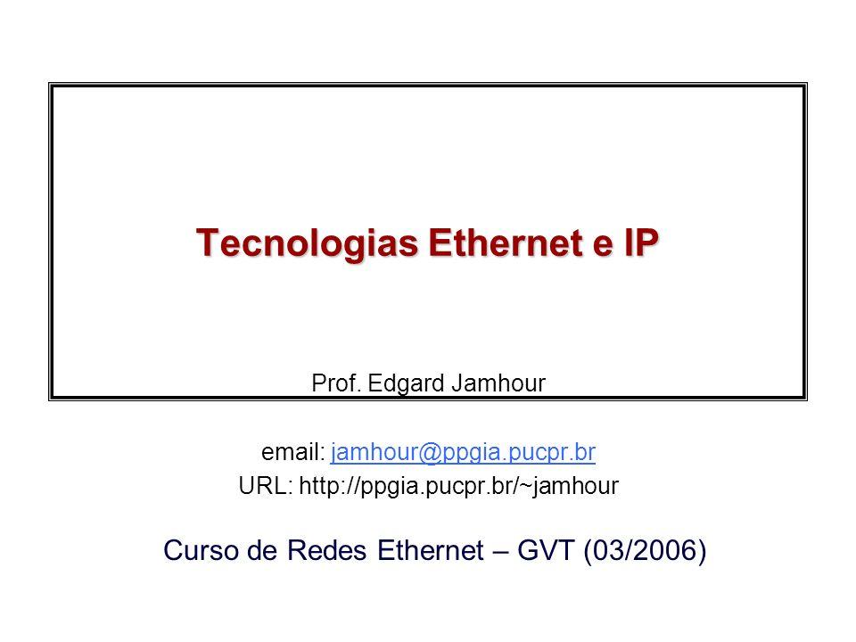 2006, Edgard JamhourRedes Ethernet GVT Exemplo Quadro de 100 bit e Taxa de Transmissão = 10 Mbit/s: –Tempo para transmitir um quadro T = 10 10 -6 s Velocidade de propagação no meio: 200 000 Km/s –Tempo de propagação: t = 1 10 -6 s para 200 m –Tempo de propagação: t= 10 10 -6 para 2 Km L AB eficiência = T/(T+t) 91% eficiência 200m = 91% 50% eficiência 2Km = 50% 9,1% eficiência 100Mbits e 2Km = 9,1% HALF-DUPLEX