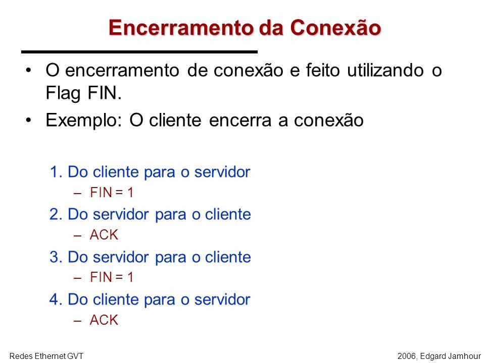 2006, Edgard JamhourRedes Ethernet GVT Estabelecimento de uma Conexão TCP Estágio 1: do cliente para o servidor (segmento SYN) –Define o valor inicial
