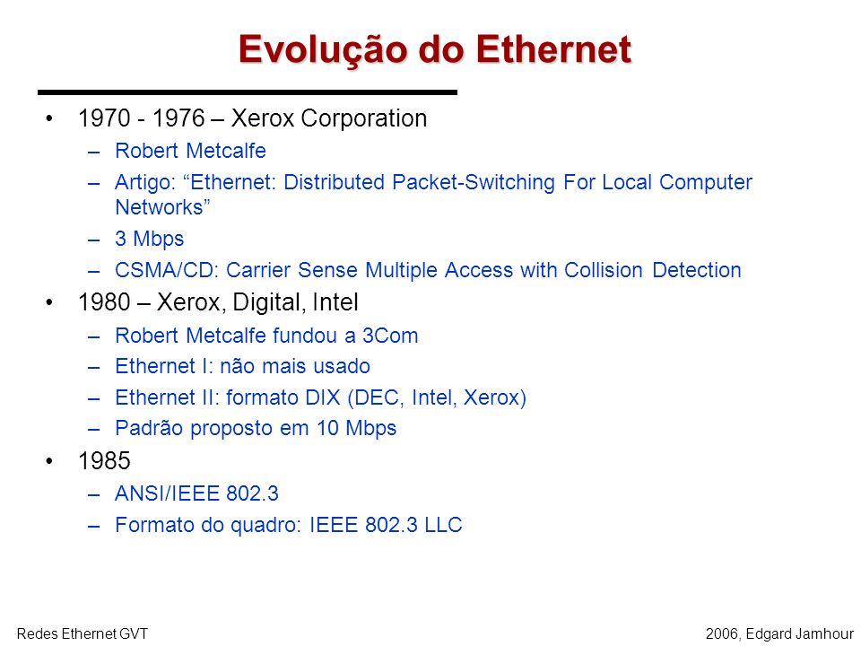 2006, Edgard JamhourRedes Ethernet GVT Evolução do Ethernet 1970 - 1976 – Xerox Corporation –Robert Metcalfe –Artigo: Ethernet: Distributed Packet-Switching For Local Computer Networks –3 Mbps –CSMA/CD: Carrier Sense Multiple Access with Collision Detection 1980 – Xerox, Digital, Intel –Robert Metcalfe fundou a 3Com –Ethernet I: não mais usado –Ethernet II: formato DIX (DEC, Intel, Xerox) –Padrão proposto em 10 Mbps 1985 –ANSI/IEEE 802.3 –Formato do quadro: IEEE 802.3 LLC