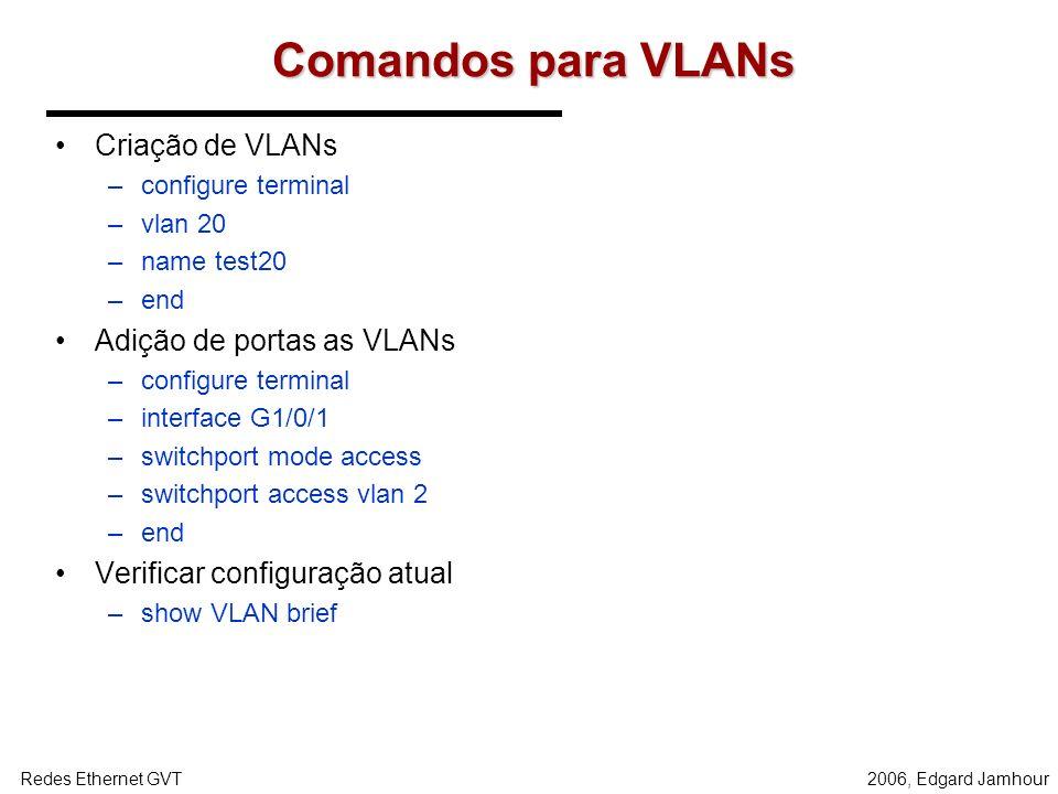 2006, Edgard JamhourRedes Ethernet GVT Prática - 5 Divida cada um dos switches em 3 VLANS: –VERMELHO –VERDE –AZUL Utilizando o Ethereal verifique: –Co