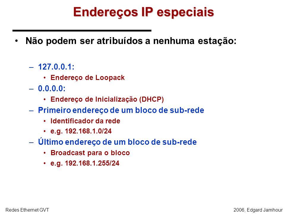2006, Edgard JamhourRedes Ethernet GVT... REDE 1 200.17.98.0/25 (100 hosts)... 200.17.98.129 200.17.98.1/25 200.17.98.193/26 200.17.98.2 /25 200.17.98