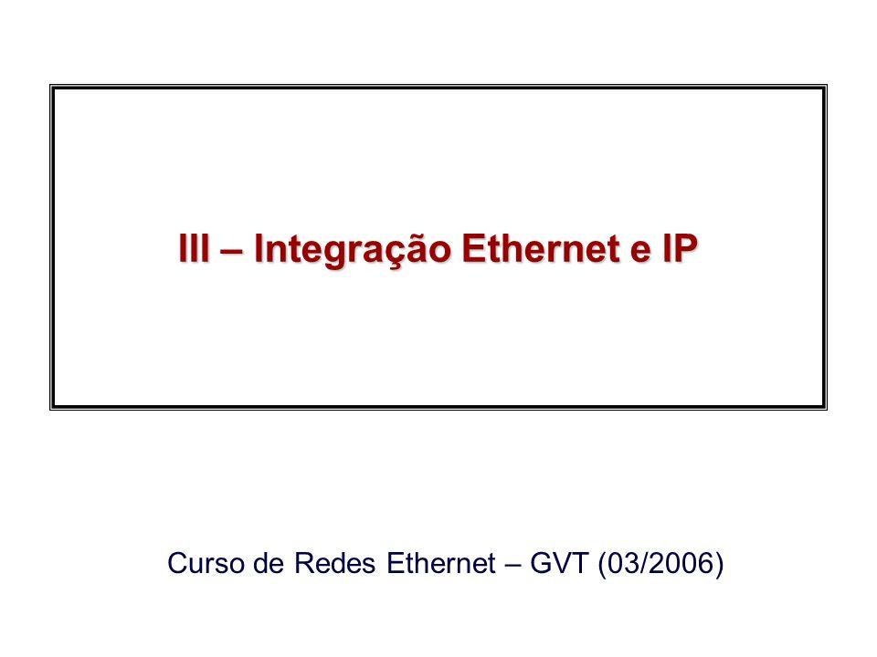 2006, Edgard JamhourRedes Ethernet GVT Endereços IP especiais Não podem ser atribuídos a nenhuma estação: –127.0.0.1: Endereço de Loopack –0.0.0.0: En