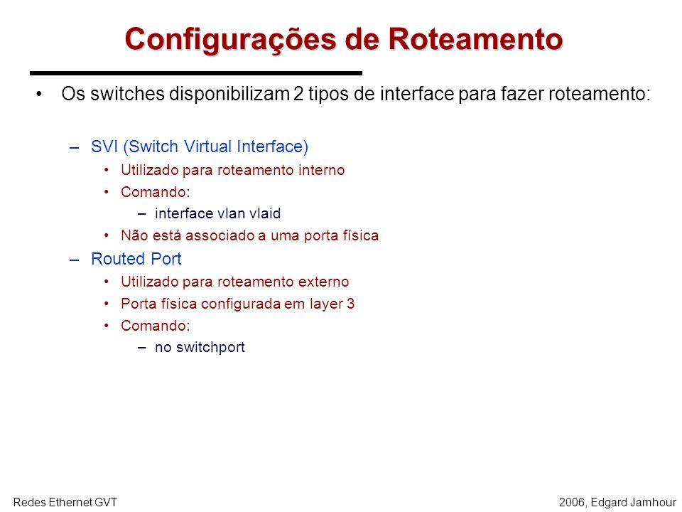 2006, Edgard JamhourRedes Ethernet GVT Roteamento entre VLANs O roteamento entre VLANs é uma funcionalidade disponível em switches de camada 3. Routed