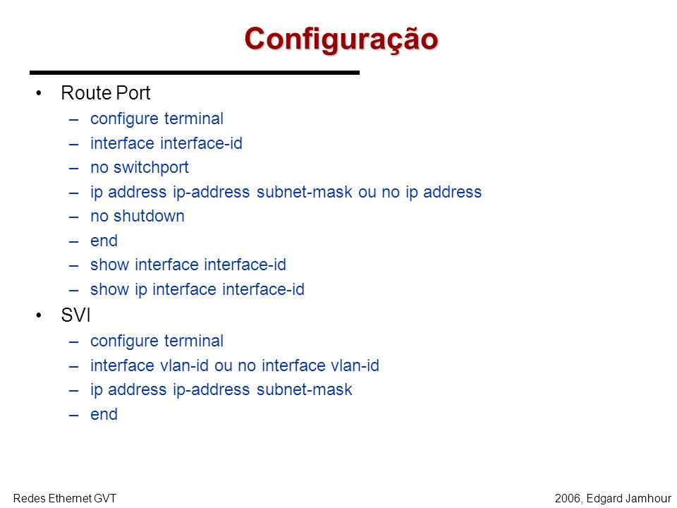2006, Edgard JamhourRedes Ethernet GVT Configurações de Roteamento Os switches disponibilizam 2 tipos de interface para fazer roteamento: –SVI (Switch