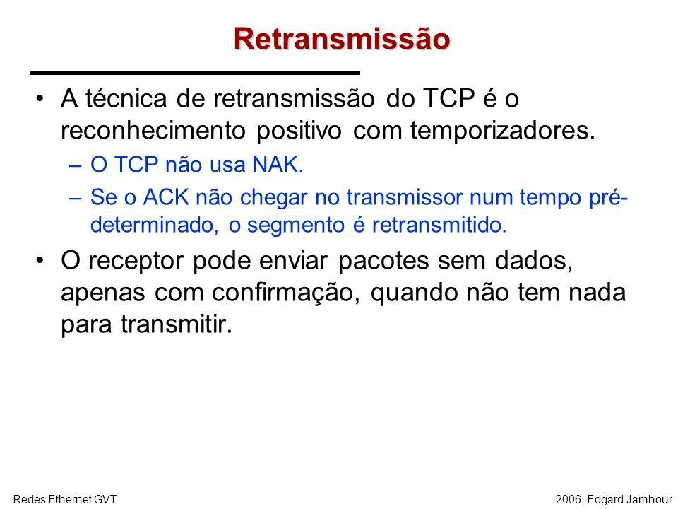 2006, Edgard JamhourRedes Ethernet GVT Campos TCP Número de Sequência –Corresponde ao número do primeiro byte do segmento em relação a fluxo contínuo
